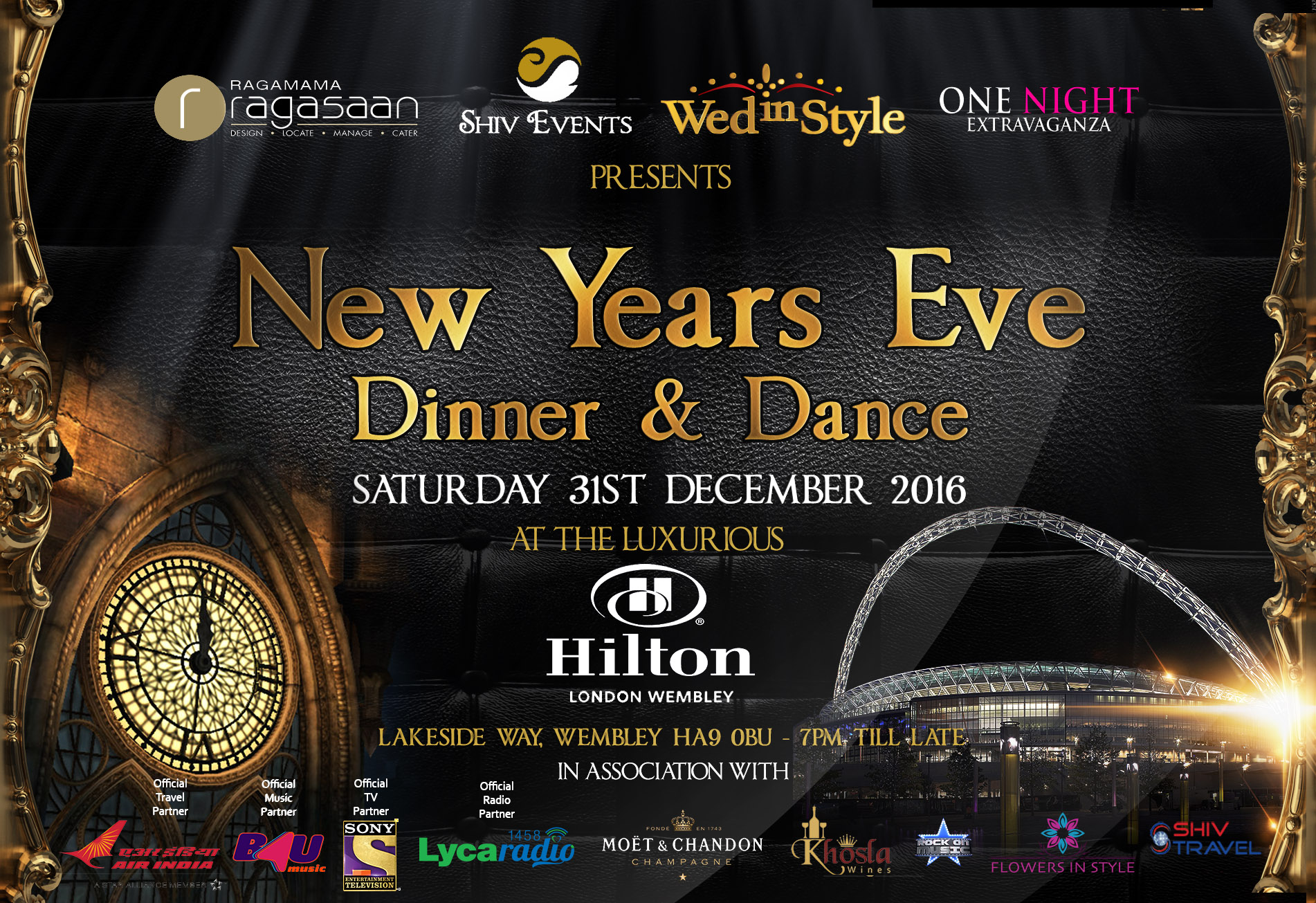 New years eve 2016 dinner and dance hilton wembley for What to make for new years eve dinner