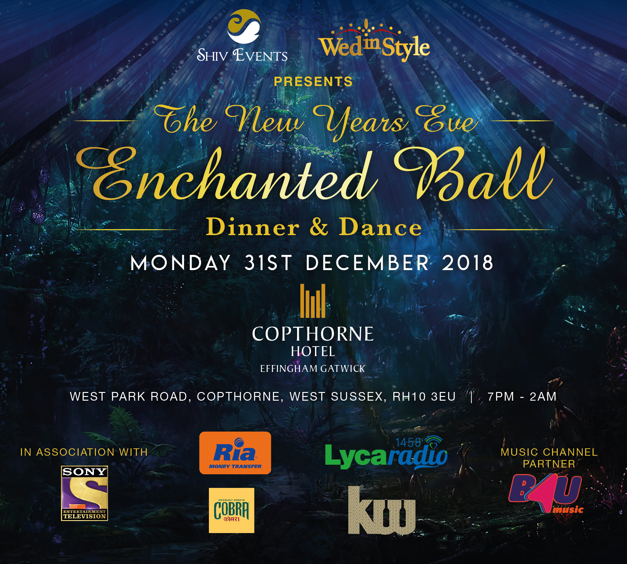 New Years Eve – Enchanted Ball 2018 – Dinner and Dance – Copthorne Effingham Gatwick Hotel