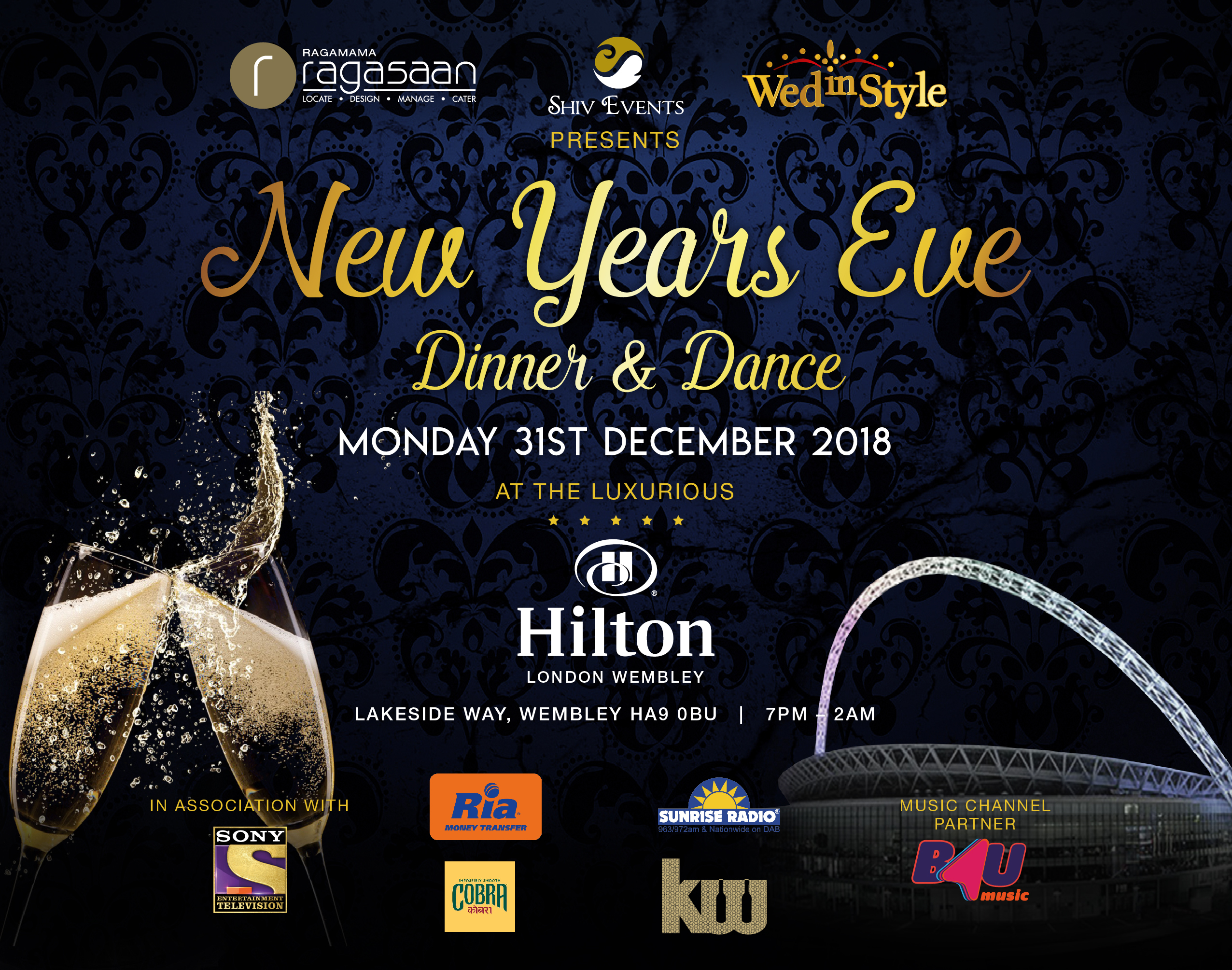 New Years Eve 2018 – Dinner and Dance – Hilton Wembley Hotel